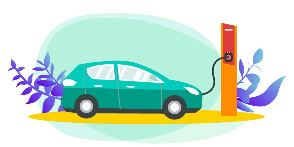 Illustration d'une voiture électrique branchée à sa borne de regarge